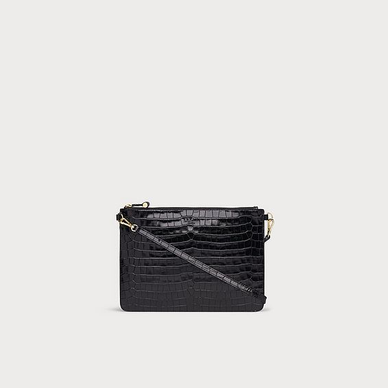 Poppy Black Croc Effect Pouch