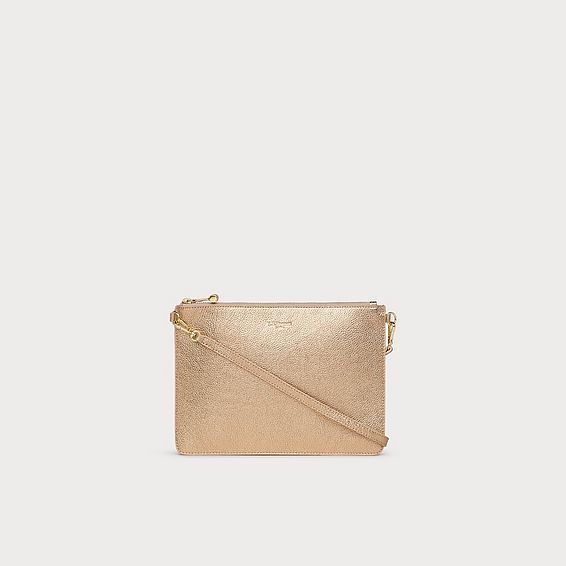 Poppy Gold Metallic Leather Pouch
