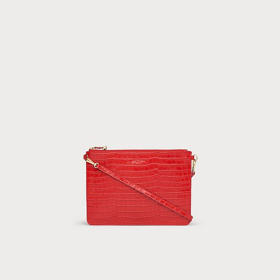 Poppy Red Croc Effect Pouch