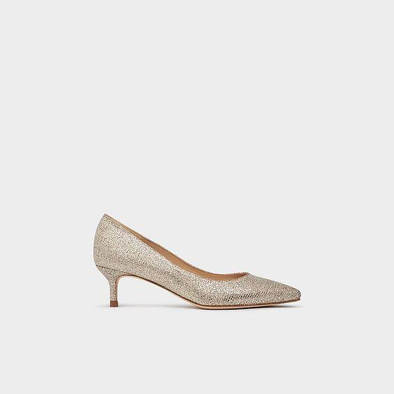 b1433fcdb14d5 Audrey Champagne Lurex Kitten Heel Courts
