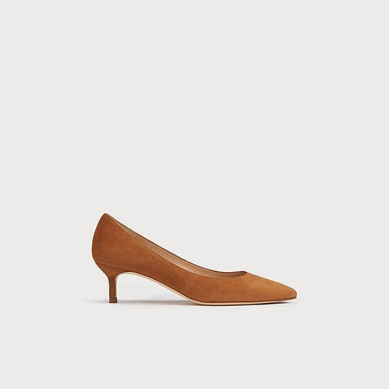 Audrey Tan Suede Kitten Heel Courts