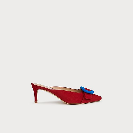 613e4fb0d10 Audrey Champagne Lurex Kitten Heel Courts. £195.00. Delia Red Suede Buckle  Mules