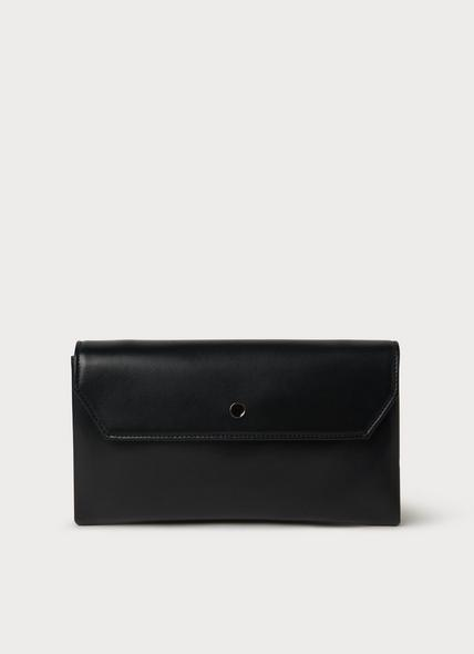 Dora Black Leather Envelope Clutch