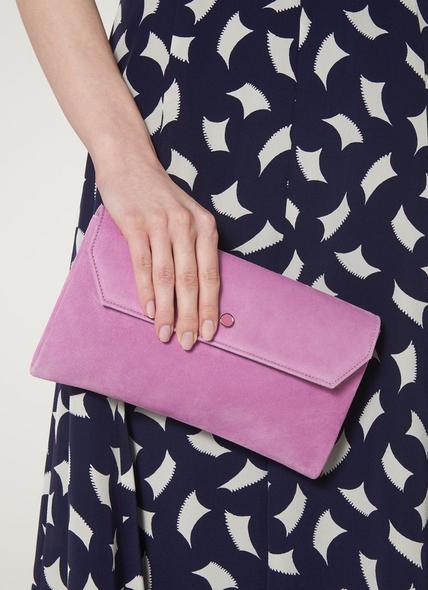 Dora Lilac Suede Envelope Clutch