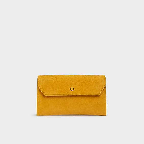 Dora Yellow Suede Envelope Clutch