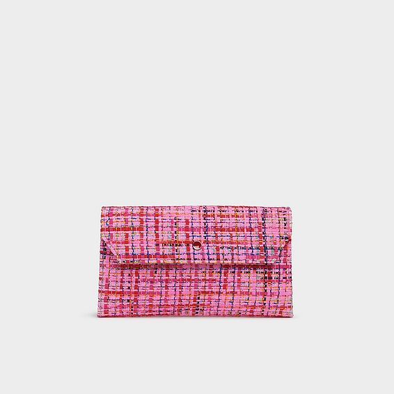 Dora Pink Tweed Envelope Clutch