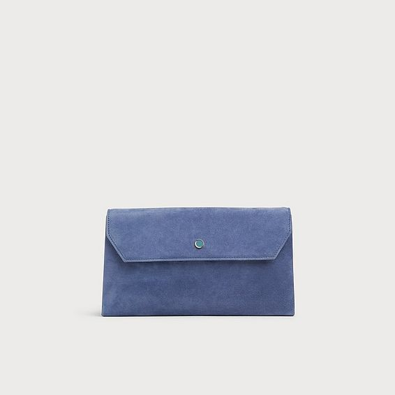 Dora Blue Suede Envelope Clutch