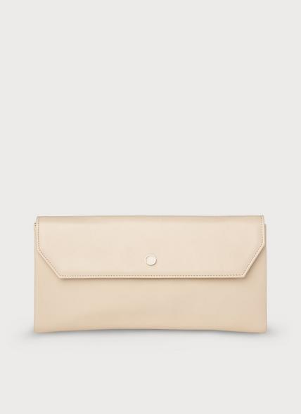 Dora Nude Leather Clutch Bag
