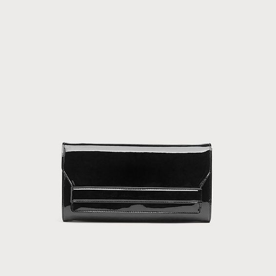Ella Black Patent Clutch Bag