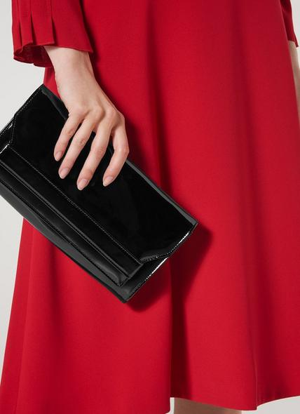 Ella Black Patent Clutch