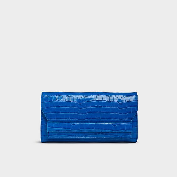 Ella Blue Croc Effect Leather Clutch