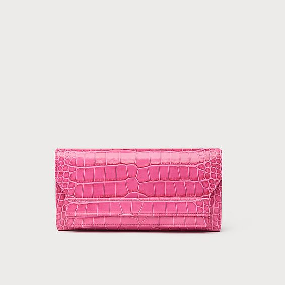 Ella Pink Croc Effect Leather Clutch