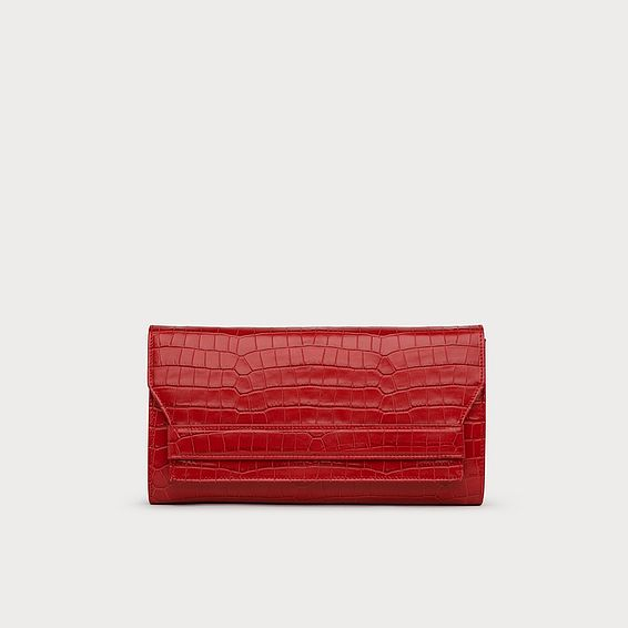 Ella Red Croc Effect Leather Clutch