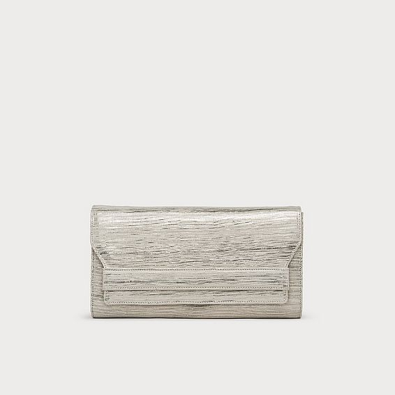 Ella Silver Lizard Effect Leather Clutch
