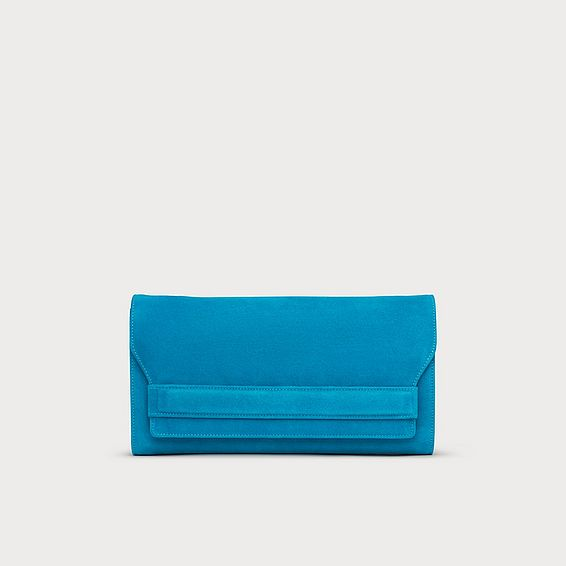 Ella Blue Suede Clutch