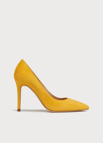 Fern Yellow Suede Pointed Toe Courts