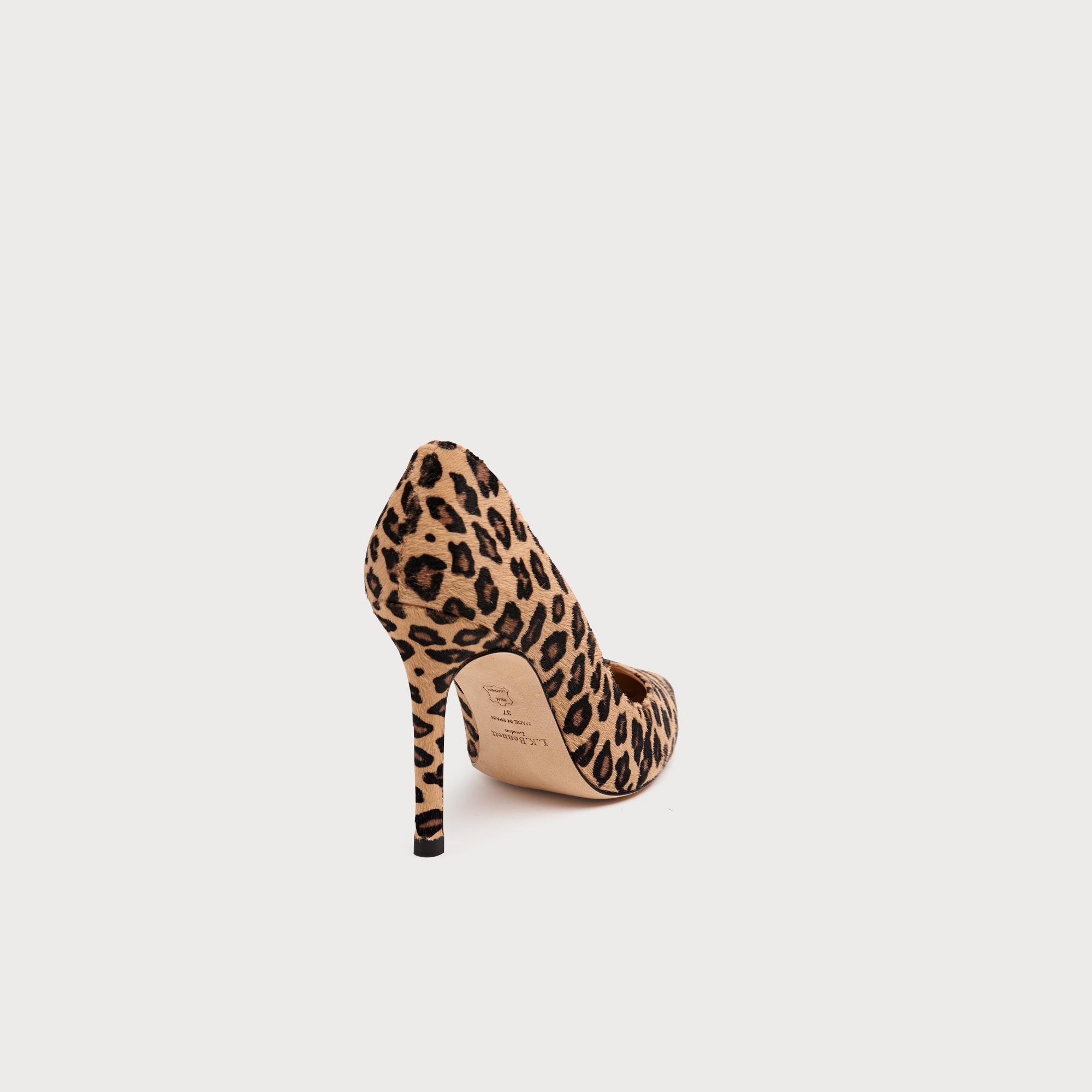 9ca0085222e Fern Leopard Print Calf Hair Pointed Toe Courts