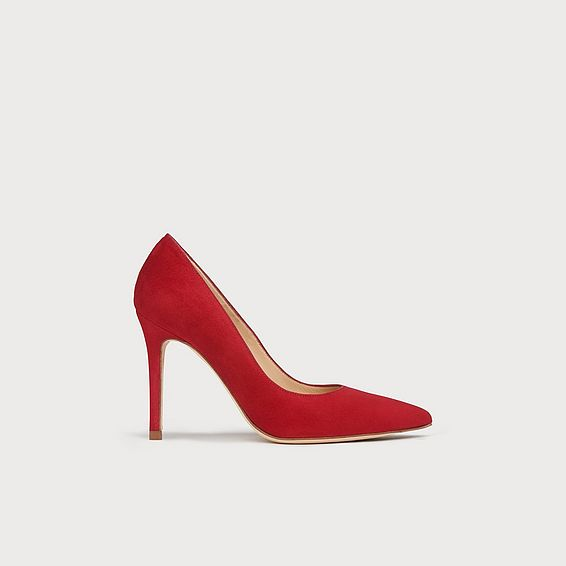 c56ae9be2682 Fern Red Suede Pointed Toe Courts