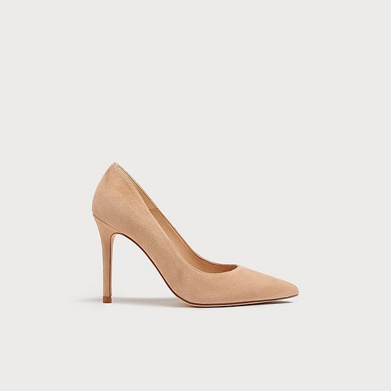 Fern Beige Suede Pointed Toe Courts