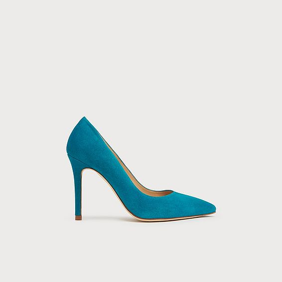 Fern Turquoise Suede Pointed Toe Courts