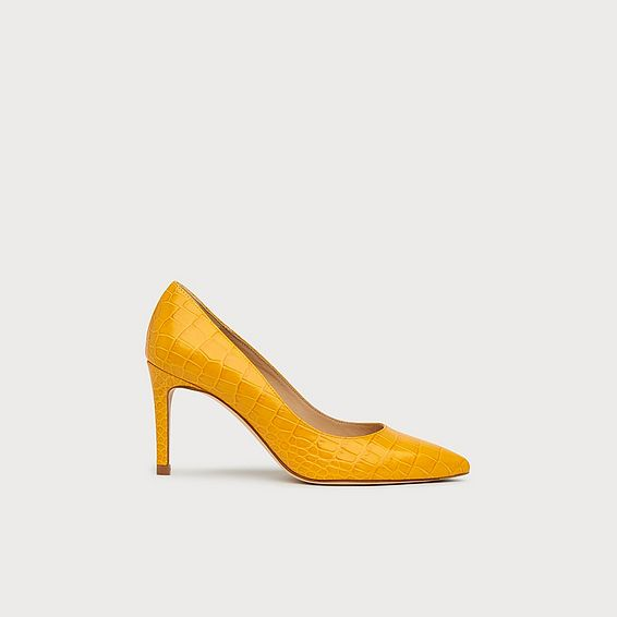 Floret Yellow Croc Effect Pointed Toe Courts