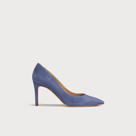 Floret Blue Suede Pointed Toe Courts
