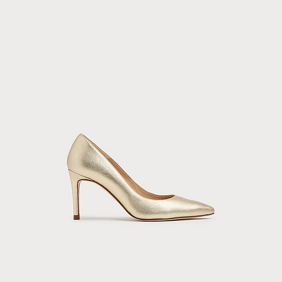 Floret Gold Leather Pointed Toe Courts