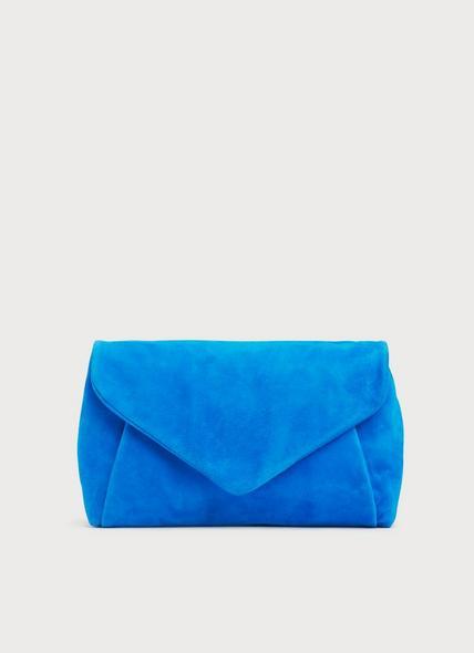 Lorna Blue Suede Envelope Clutch