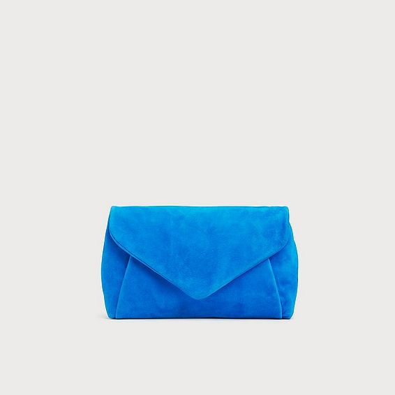 Lorna Blue Suede Envelope Clutch