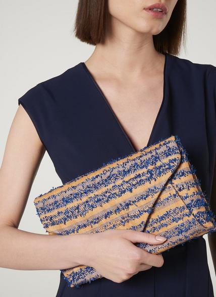 Lorna Blue Woven Raffia Envelope Clutch