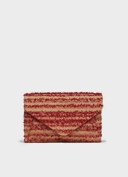 Lorna Red Woven Raffia Envelope Clutch