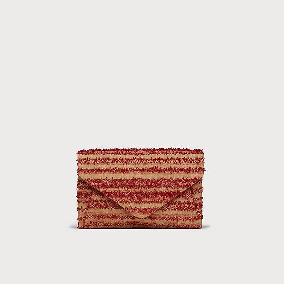 Lorna Red Woven Raffia Envelope Clutch