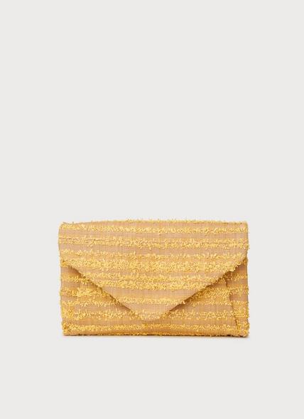 Lorna Yellow Woven Raffia Envelope Clutch