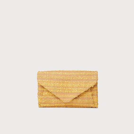 Lorna Yellow Woven Raffia Envelope Clutch