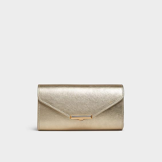 Lucy Gold Leather Envelope Clutch