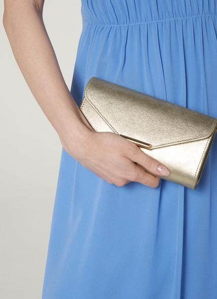 Lucy Gold Shimmer Suede Clutch