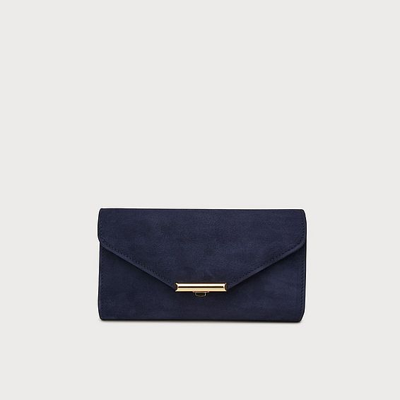 Lucy Navy Suede Envelope Clutch