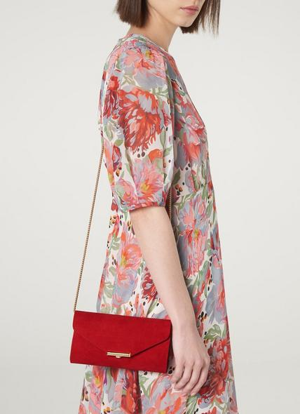 Lucy Red Suede Envelope Clutch