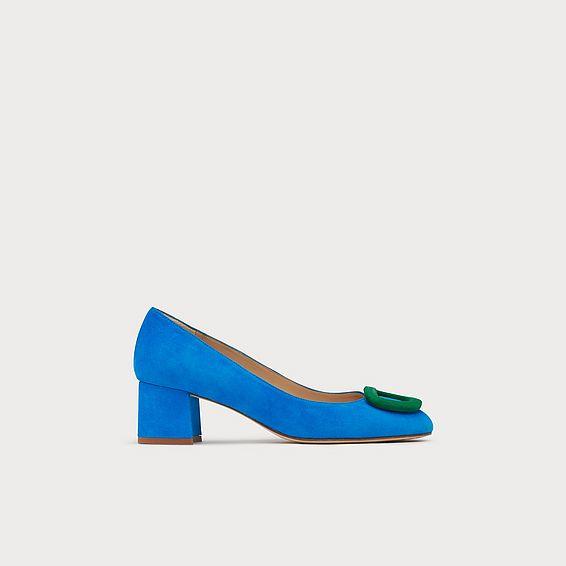 e5cc7cf9763 Nimah Blue Suede Buckle Courts