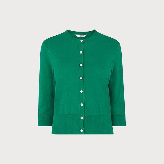 Aila Green Silk Cotton Cardigan