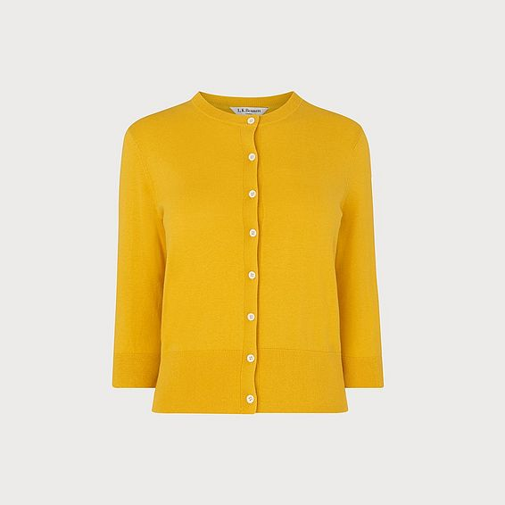 Aila Yellow Silk Cotton Cardigan
