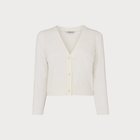 Aurelia Ivory Merino Wool Cropped Cardigan