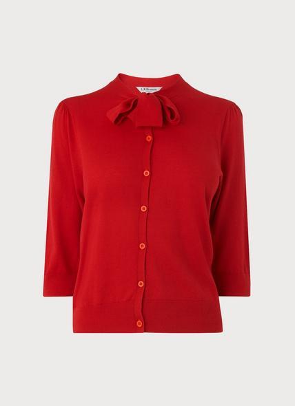 Bow Red Silk Cotton Cardigan