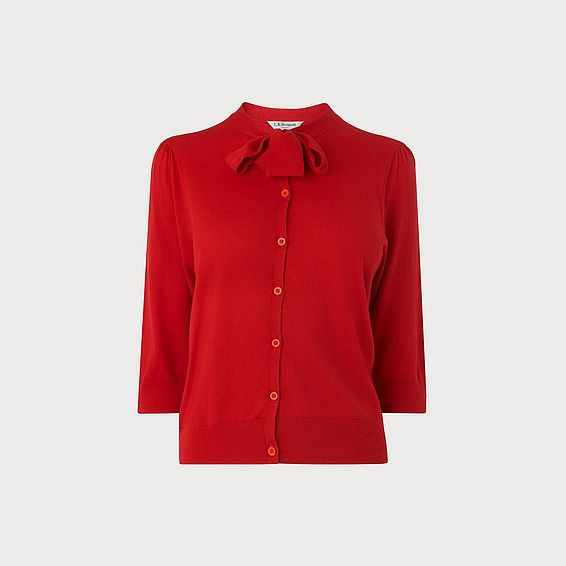 Bow Red Silk Cotton Cardigan