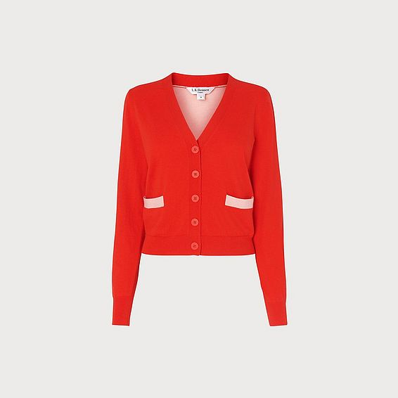 Mandy Red V-Neck Cardigan