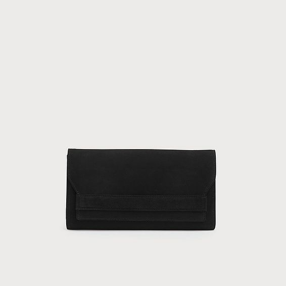 Ella Black Suede Clutch Bag