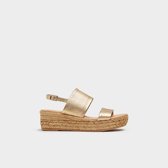 b69d87fd093 Cona Gold Leather Espadrille Sandals