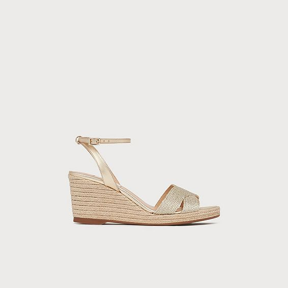 Mabella Gold Rope Wedge Sandals