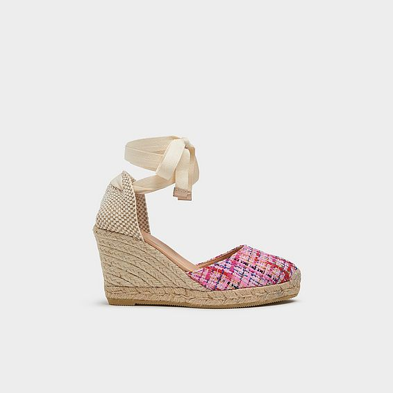 Tianna Pink Tweed Espadrille Sandals