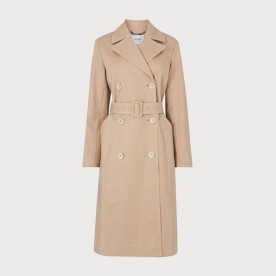 Kaylee Beige Cotton Trench Coat
